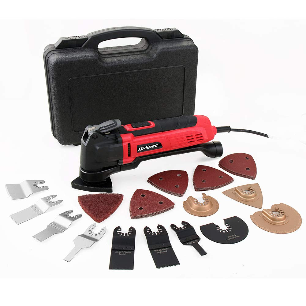 Hi-Spec 2.5A (300w) Oscillating Multi-Tool with Keyless Tool Changing, 38pc Accessory Kit and Variable Speed Switch for Sanding, Grinding, Cutting, Removing Grout and Stains - Power Tool