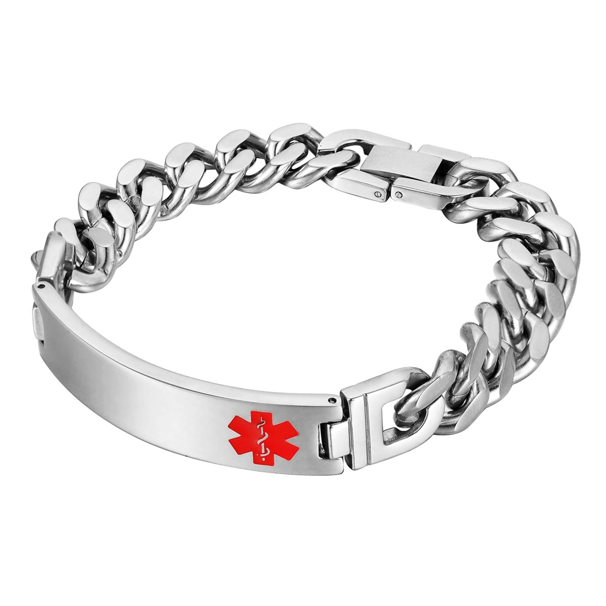 HOUSWEETY Unisex Stainless Steel Medical Alert ID Stretch Bracelet for Men and Women HOUSWEETYKLB109107