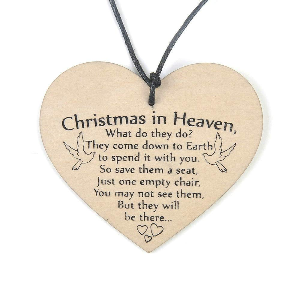 Oldeagle Christmas in Heaven Wooden Heart Plaque Sign Friendship Home Decoration