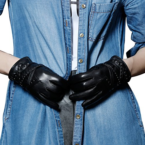 Punk Costume Female Rock Ideas (Fioretto Womens Fashion Genuine Leather Gloves Driving Leather Gloves with Metal Hardware Black Size)