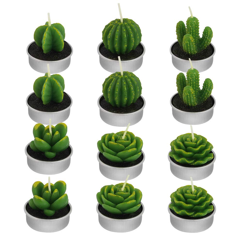 DECARETA 12 PCS Cactus Candle Tealight Handmade Decorative Candle Succulent Cute Mini Candle Decoration for Home Party Wedding Christmas Valentine's Day