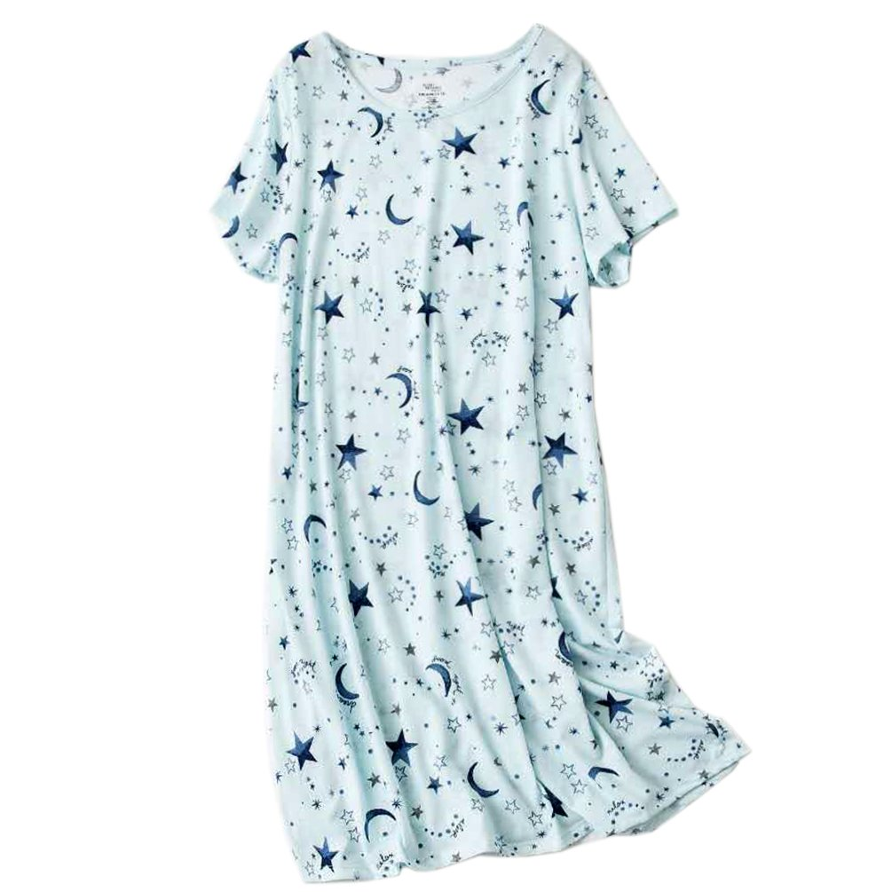 ENJOYNIGHT Womens Cotton Sleepwear Short Sleeves Print Sleepshirt Sleep Tee (Moon Star, XXL)