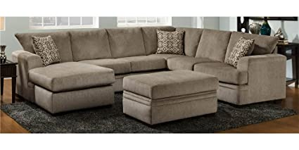 Amazon.com: 2-Pc Sectional Sofa Set in Rochester Chocolate: Kitchen ...