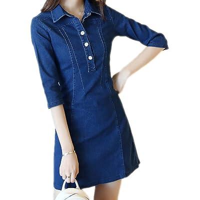 Oberora-Women Fashion Half Sleeve Slim Lapel Button A-Line Denim Dress