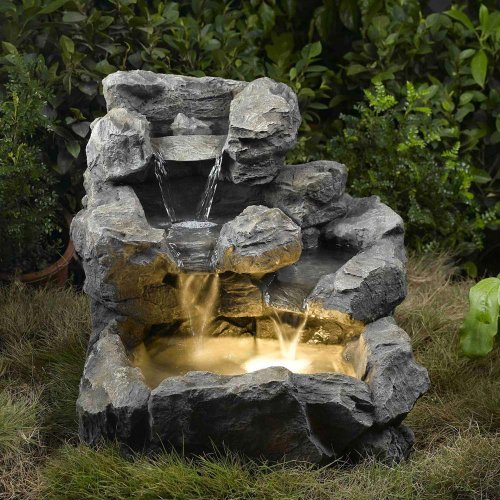 Jeco Rock Creek Cascading Outdoor Indoor Fountain with Illumination