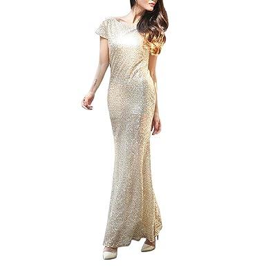 Abetteric Womens Premium Sequin Bridesmaid Maxi Bodycon Evening Prom Dress One XS
