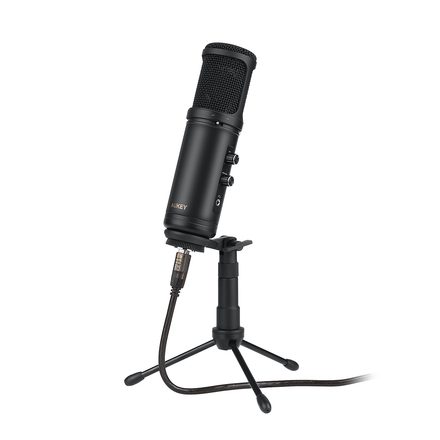 AUKEY Condenser Microphone for Recording, USB Cardioid Microphone with 3.5mm Headphone Jack, and Tripod Stand for Mac, PC and Computer by AUKEY