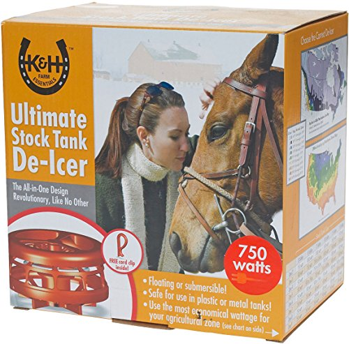K&H Pet Products Ultimate Stock Tank Deicer w/ Cord Clip Red (Stock Tank De Icer)