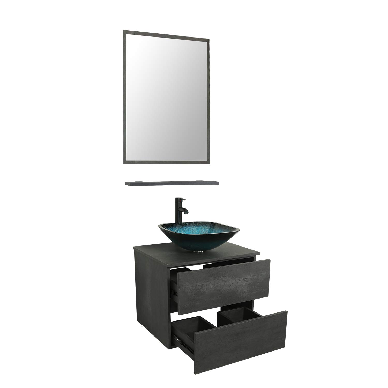 Turquoise Square Tempered Glass Vessel Sink Top W Orb Faucet Pop Up Drain Mirror Inc 24 Wall Mounted Bathroom Vanity And Sink Combo Concrete Grey Color Vanity Set With 2 Drawers Tools Home Improvement Bathroom Vanities