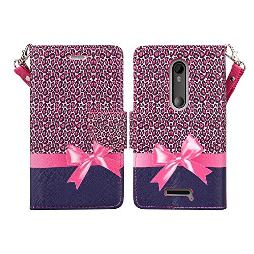 Microseven Droid Maxx 2 Case, Motorola Verizon DROID MAXX 2 / Moto X Play (2015) Magnetic Leather Book Wallet Pouch Case Cover w Fold Up Kickstand w Strap (Pink Bow Cheetah)