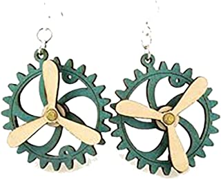 """product image for Steampunk Popelller """"Kinetic"""" Moving Gear Earrings - Laser Cut From Sustainably Harvested Wood (Teal G)"""