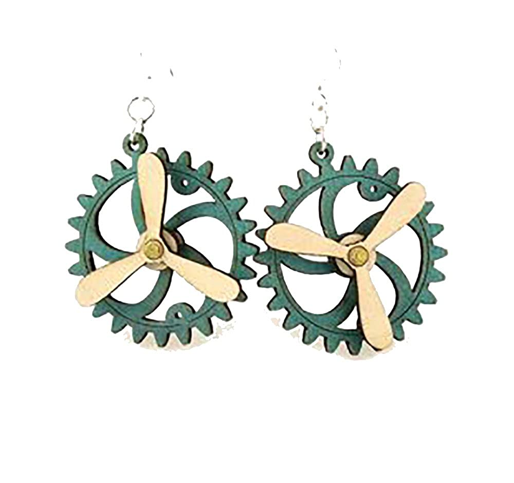Steampunk Popelller Kinetic Moving Gear Earrings Laser Cut From Sustainably Harvested Wood Teal G
