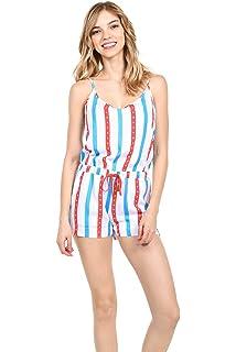 76d2078fa6c7 Amazon.com  Highpot Women s Patriotic American Flag Romper USA Red ...
