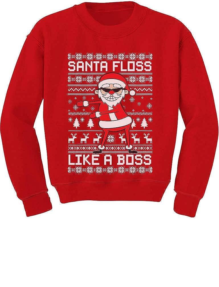 Tstars Santa Floss Like a Boss Funny Ugly Christmas Sweater Youth Kids Sweatshirt GaMPa0hgfm