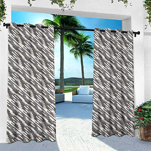 Hengshu Abstract, Outdoor Curtain for Patio,Outdoor Patio Curtains,Modern Stripes and Checkered Squares of Different Sizes Composition, W96 x L96 Inch, Cream Pale Grey Black