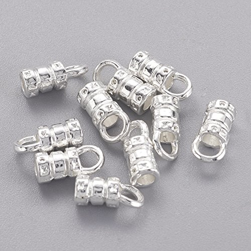 - NBEADS 500 Pcs Silver Color Alloy Cord Ends, Crimp Fasteners Leather Cord Ends Caps Necklace Clasp Jewelry Findings
