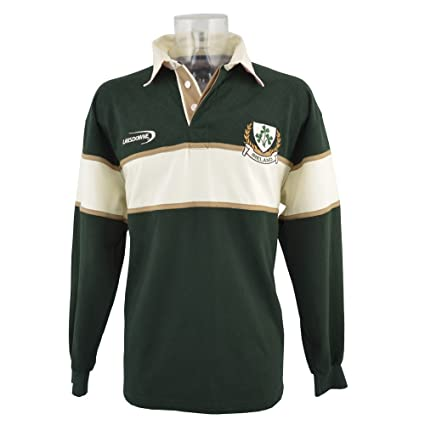 Lansdowne Camiseta de manga larga de rugby de Irlanda color verde botella/natural 3 Tréboles