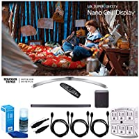 LG (65SJ8000) 65 Super UHD 4K HDR Smart LED TV (2017) w/ Sound Bar Bundle Includes, LG SJ9 Sound Bar 5.1.2ch Hi-Res Audio w/ Dolby Atmos-Wifi-Bluetooth, 3x HDMI Cable, LED TV Screen Cleaner + More