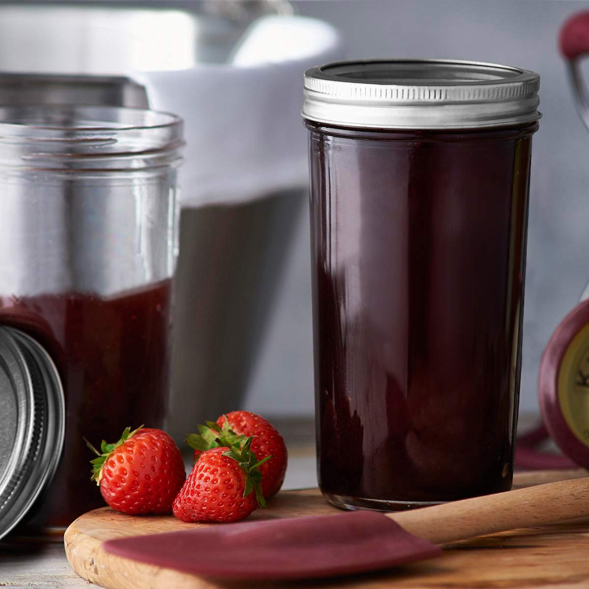 KAMOTA Wide Mouth Mason Jars 22 oz With Regular Lids and Bands, Ideal for Jam, Honey, Wedding Favors, Shower Favors, Baby Foods, DIY Magnetic Spice Jars, 12 PACK, 12 Silver Pipette Covers Included