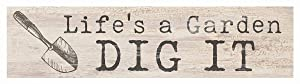 P. Graham Dunn Life's a Garden Dig It Spade Whitewash 6 x 1.5 Mini Pine Wood Tabletop Sign Plaque