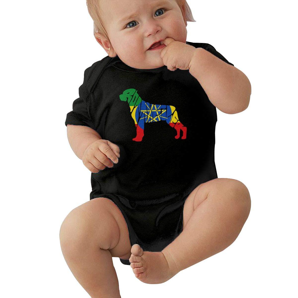 Mri-le2 Newborn Baby Short Sleeve Organic Bodysuits Ethiopia Flag Rottweiler Dog Kid Pajamas