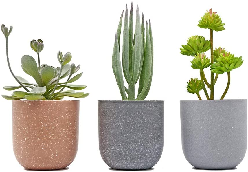 "Fake Succulent Artificial Potted Plants - KID2 Greenery 8""-9.6"" Tall Small Faux Succulent in Pot Decor Indoor for Office Desk Home Bathroom House Room Decorations, Set of 3"