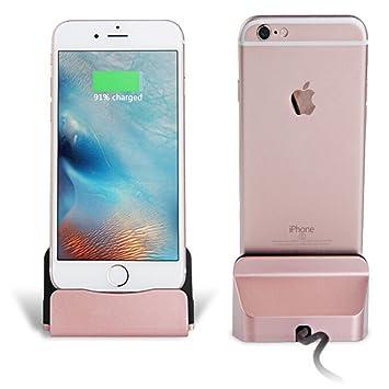 3a3dc84e476 Eximtrade Cargador Dock Soporte para Apple iPhone 5/5s/6/6s/6 plus/6s Plus/7 /7 Plus, iPod (Oro Rosa): Amazon.es: Electrónica