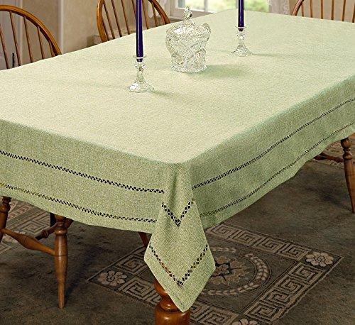 Violet Linen Hem Stitch Embroidered Vintage Design Oblong/Rectangle Tablecloth 60