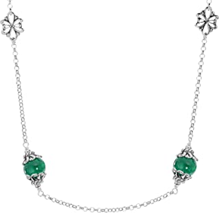 product image for Carolyn Pollack Sterling Silver Gemstone Floral Stations Beaded Necklace 32 Inch