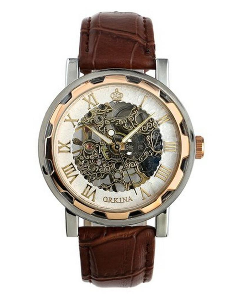 Franterd Luxury Mechanical Stainless Wrist Watch Mans PU Leather Band