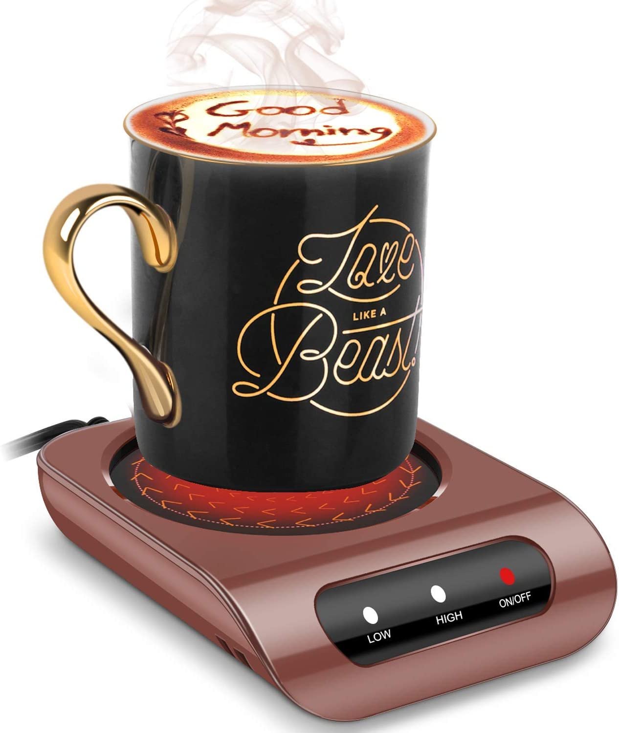 BONTIME Mug Warmer - 35 Watt Coffee Warmer for Desk with Auto Shut Off, Easy to Use and Clean, Enjoy Warm Coffee & Tea Anytime at Home and Office