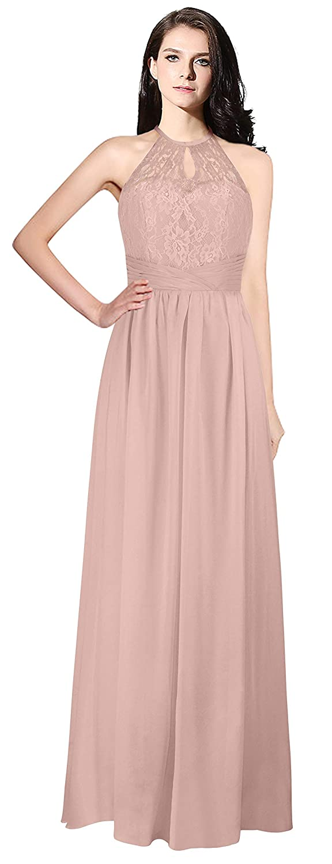 bluesh MaliaDress Womens Backless Long Halter Bridesmaid Dress Prom Gown M266LF