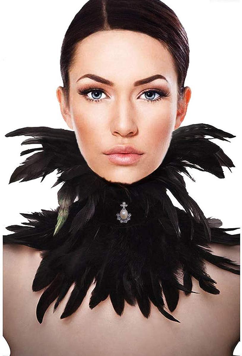 Feather Choker Collar Elegant Grey /& Cream