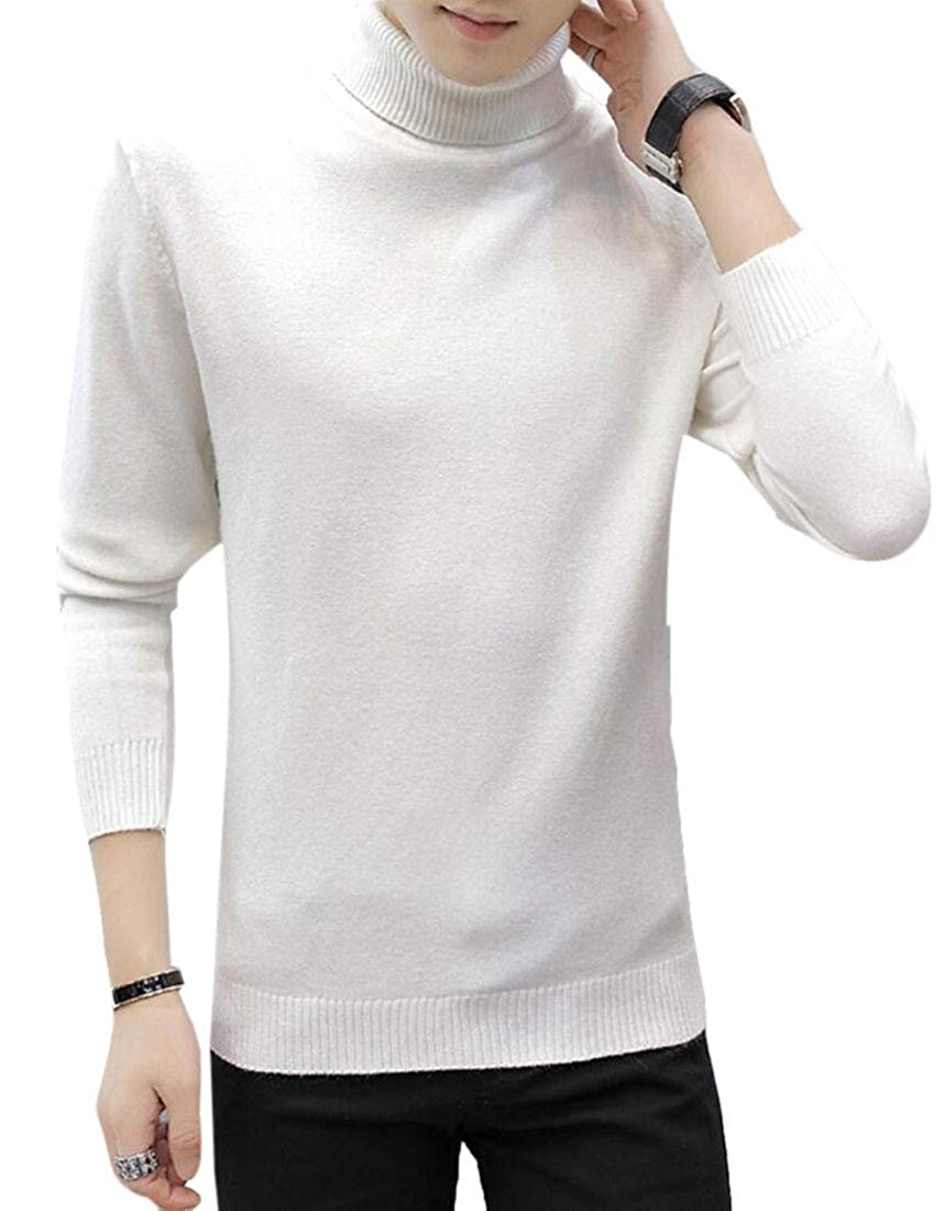 Keaac Mens Casual Basic Ribbed Knitted Pullover Turtleneck Thermal Sweater