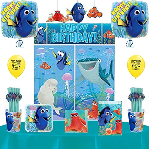Movie Night Beverage Napkins - Disneys Finding Dory Party Supplies Pack Includes: Straws, Dessert Plates, Beverage Napkins, Cups, Swirl Decorations and Table Cover