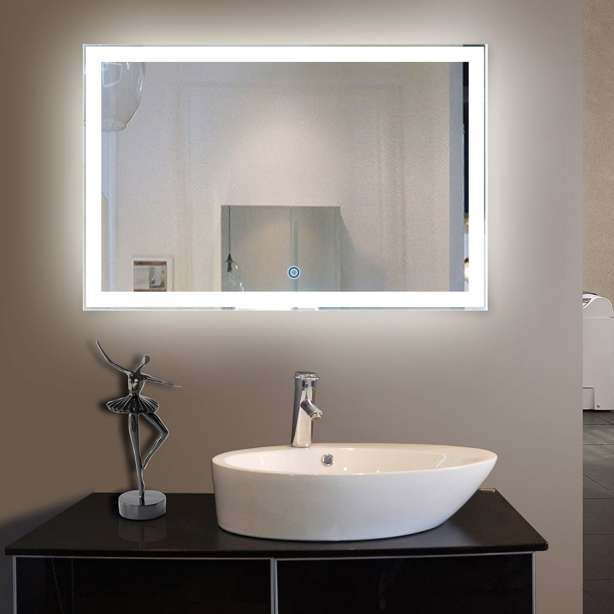 55 x 36 In Horizontal LED Bathroom Silvered Mirror with Touch Button (N031-C)