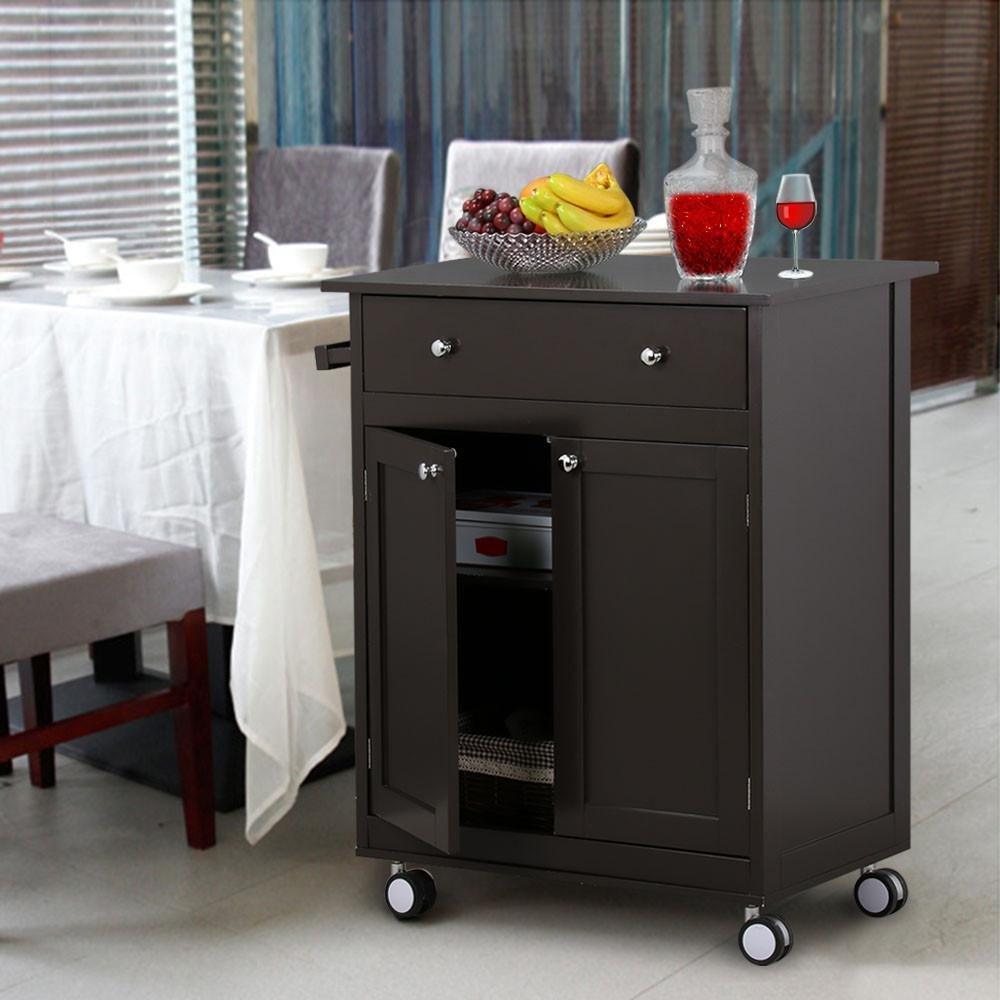 Yaheetech Rolling Wood Kitchen Trolley Kitchen Island Cart With Drawer Storage Cabinet