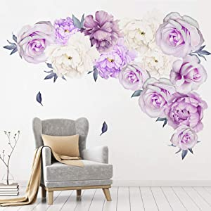 Floral Peony Flowers Wall Decals, Watercolor Rose Wall Sticker, Peonies Blossom Wall Stickers Purple Rose Peel and Stick for Girls Child Room Livingroom Home Bedroom Nursery Room Wall Decor (Purple 1)