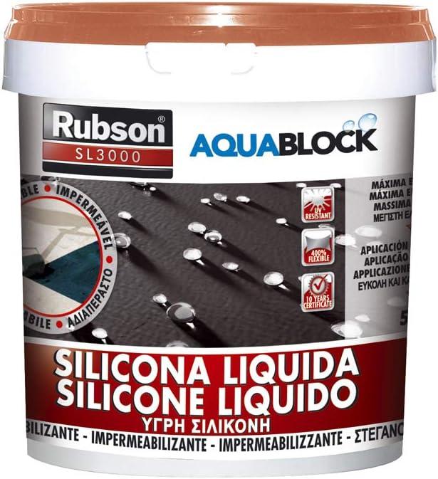 Rubson 1326031 Silicona líquida impermeabilizante, Teja, 5 Kg