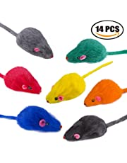 Yangbaga Fake Mice Rattle 14 Pack, Cat Toys Rainbow Mice for Cats and Kittens