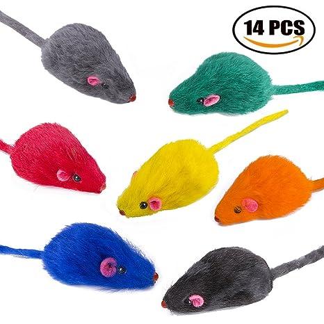 Yangbaga Ratones de Juguete para Gatos 14 pc Juguetes Gatos Ratón en Color del Arco Iris