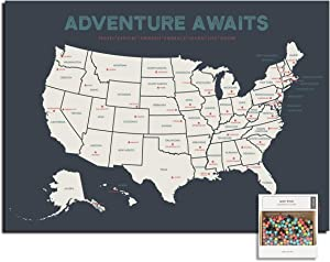 """Epic Adventure Maps The United States Push Pin Map 24"""" x 17"""" - Travel Map to Mark Your Travels Around The USA - Multicolored Pushpins Included - Great Travel Gift (Grey)"""