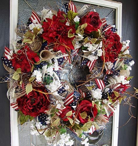 XL Deluxe Elegant Rustic Red Floral Americana Style Front Door Deco Mesh Wreath, Memorial Day Everyday Decor, Porch Patio Decoation -