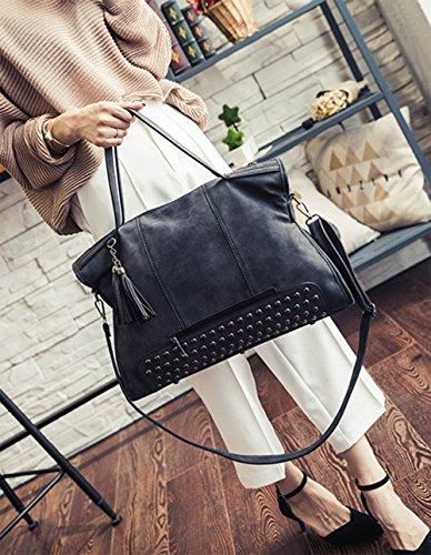 pu Tote Designer Hobo Fashion Womens Leather Large Embossed Purse Black Handbag zwWqTtB