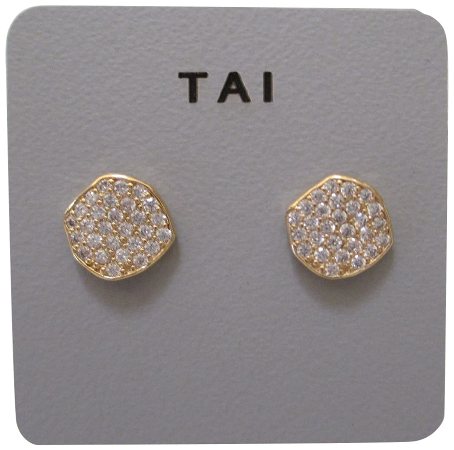 Tai Wavy Disc Crystal Pierced Stud Earrings (gold-plated-base)