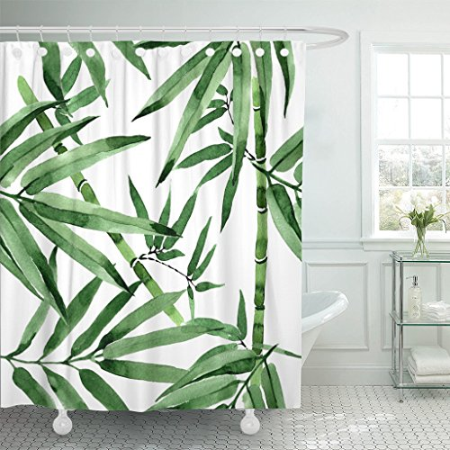 Breezat Shower Curtain Colorful Hand Tropical Leaves Bamboo Tree Pattern in Watercolor Style Aquarelle Wild for Border Green Waterproof Polyester Fabric 72 x 78 Inches Set with (Palm Tree Bamboo Curtain)