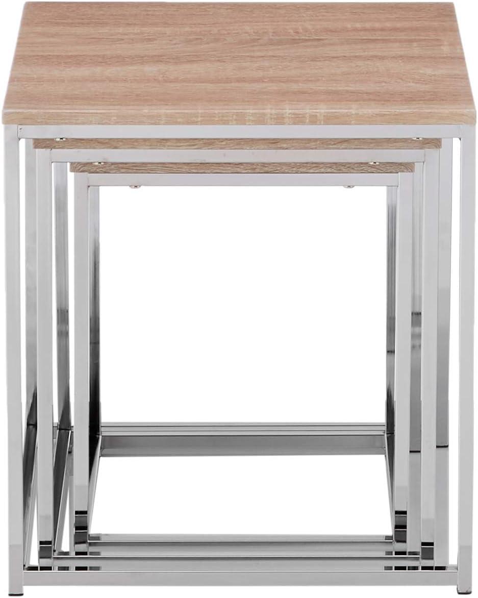 36//39//42 cm 29//34//39 x H Bianco Cromato W D Haku M/öbel Set di 3 Tavoli