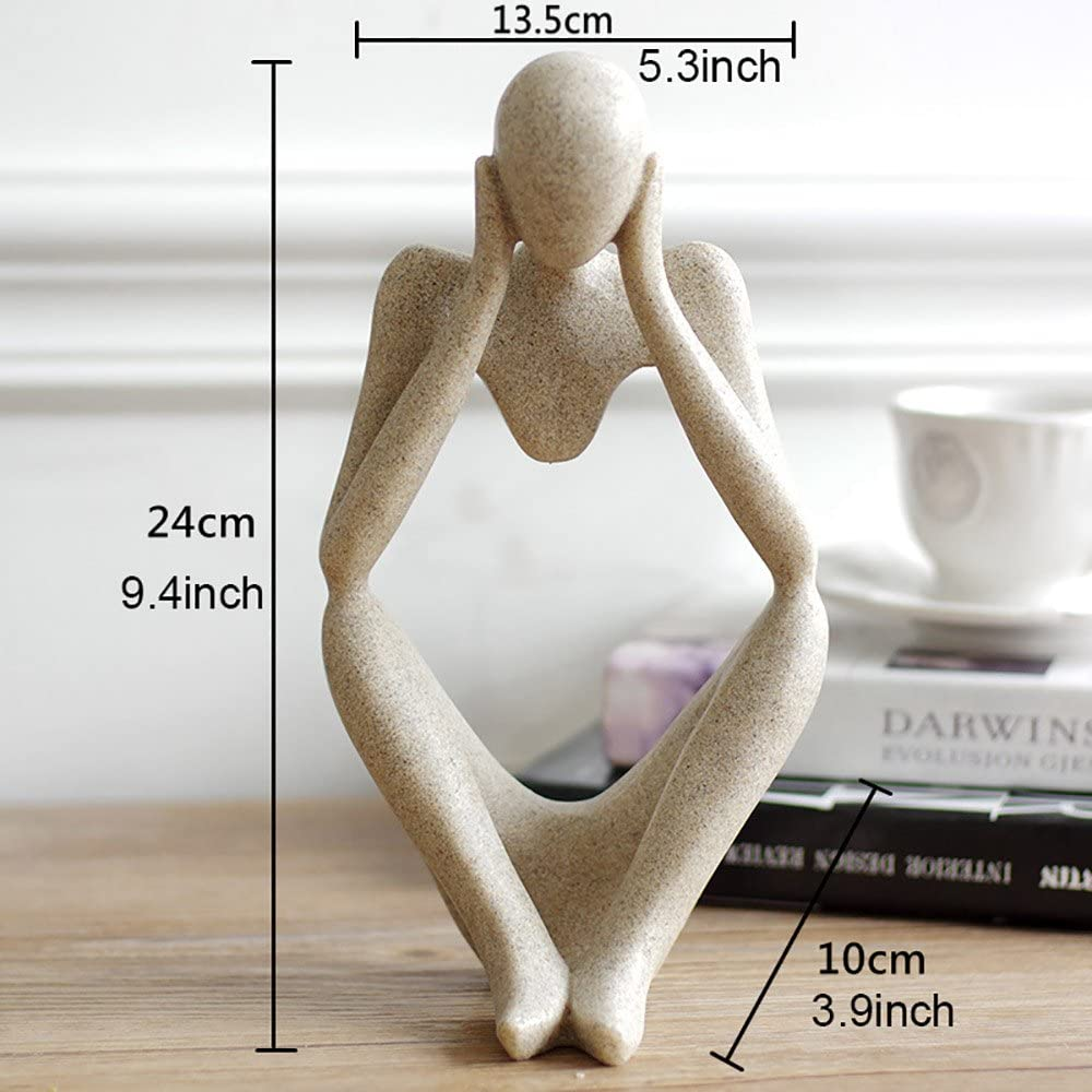 A Nice purchase Abstract Thinker Statue Modern Sandstone Resin Figure Craft Art Hand Carved for Home Office Bookshelf Desktop Photography Decoration Imagination