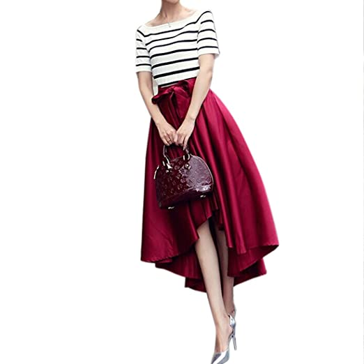 718c13162d Satin Tutu Style High-Low Pleated Bubble 50's Vintage Bowknot Party Club  Skirt