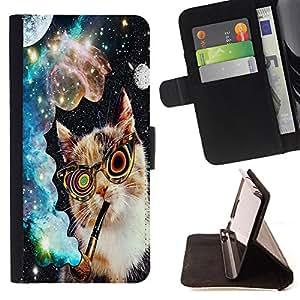 Dragon Case- Caja de la carpeta del caso en folio de cuero del tir¨®n de la cubierta protectora Shell FOR Samsung Galaxy A3 a3000- Spoace Cat